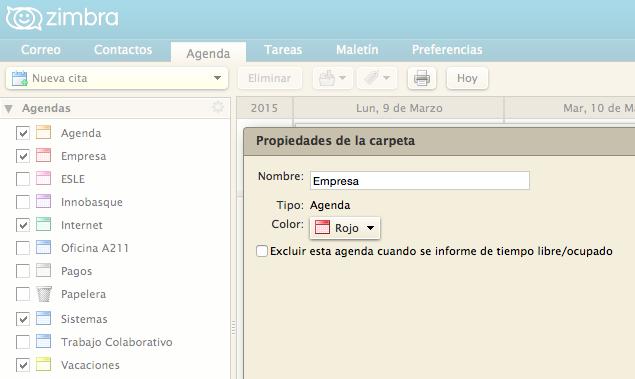 Configuración individual agenda calendario libre/ocupado