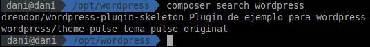 "Ejemplo del comando ""composer search"""