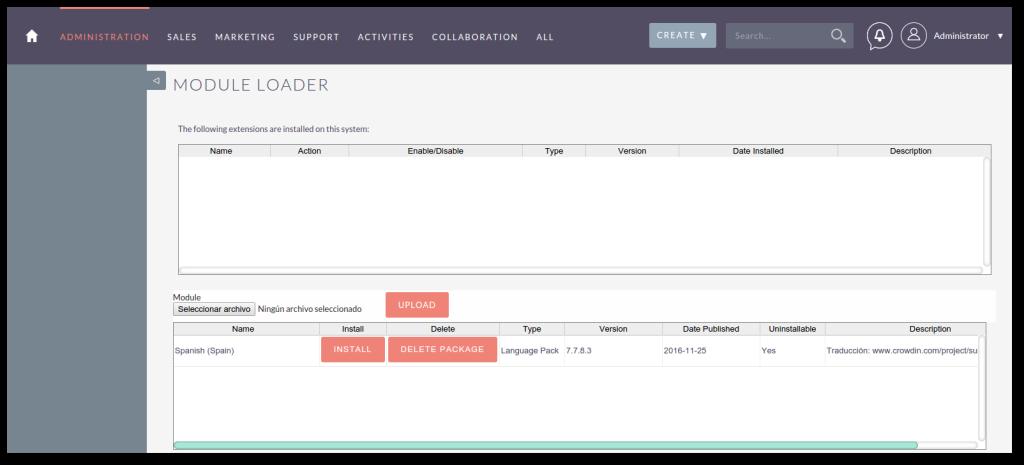 Instalacion paquete idioma en SuiteCRM