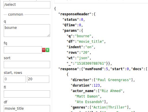 Apache SOLR - Docker - Filtando con df