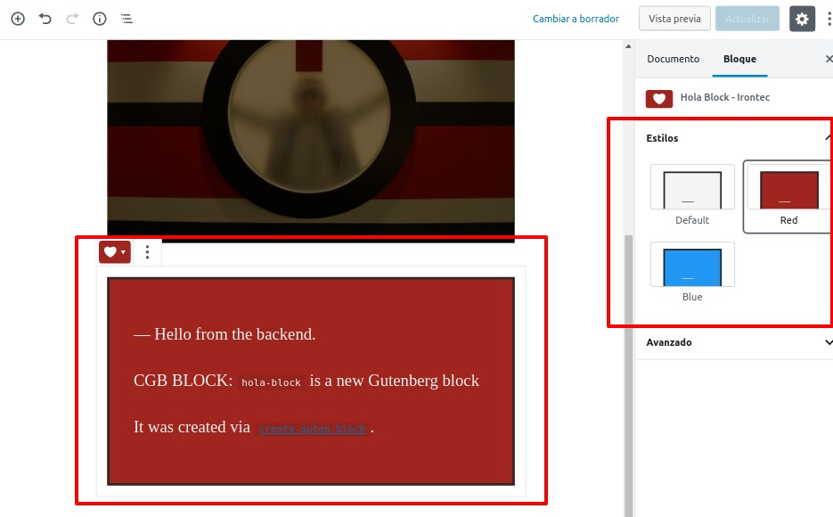 Styles block gutenberg